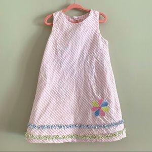 Chez Ami pink seersucker sleeveless dress size 5